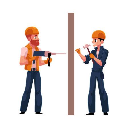 2 つの労働者、建設業者のヘルメットとオーバー オール、壁を掘削、釘を打つのに白い背景で隔離のベクトル図を漫画します。建設労働者、壁の両