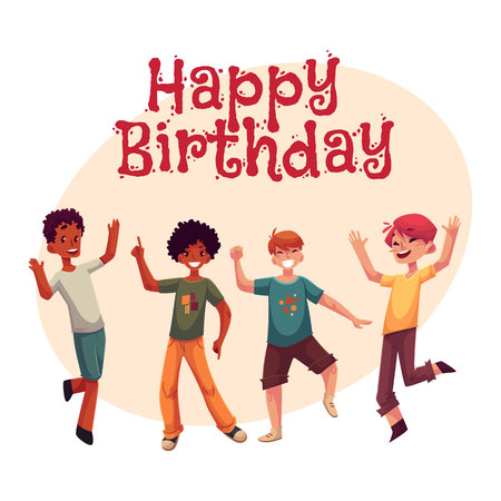 Happy birthday vector greeting card poster banner design with happy birthday vector greeting card poster banner design with black and caucasian boys m4hsunfo