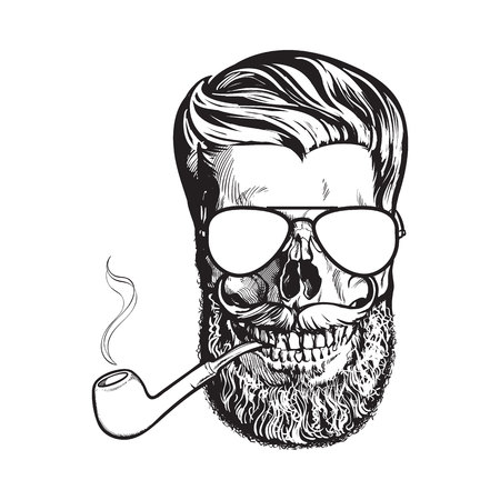 Human skull with hipster beard, wearing aviator sunglasses, smoking pipe, black and white sketch vector illustration isolated on white background. Hand drawing of human skull with beard and whiskers Illustration