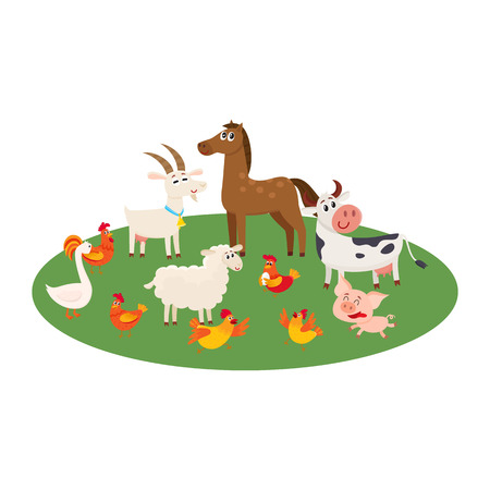 Farm animals - cow, sheep, horse, pig, goat, rooster, hen, goose- grazing in the pasture, cartoon vector illustration isolated on white background, Cute and funny farm animals grazing on green lawn Illustration