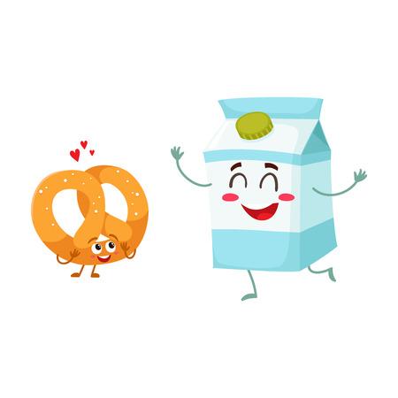 熱いシャキッとしたドイツ プレッツェルとミルク ボックス文字、朝食の最適な組み合わせ、漫画、白い背景で隔離のベクトル図です。笑顔でサクサ