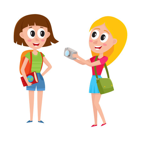 Two pretty girls, women tourists travelling together, one posing to another, making photo, cartoon vector illustration isolated on white background. Girls, women travelling together, sightseeing