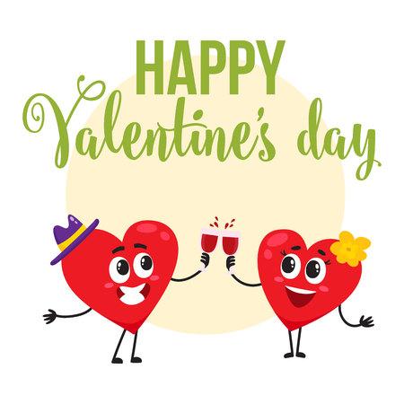 Valentine-de kaart van de daggroet, prentbriefkaar, bannerontwerp met twee de rammelende glazen van hartkarakters, beeldverhaal vectorillustratie. Het ontwerp van de groetkaart met twee hartkarakters die Valentine-dag vieren