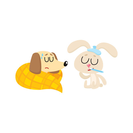 Sick baby dog and rabbit having flu, fever, sleeping, sitting with ice pack and thermometer, cartoon vector illustration isolated on white background. Sick dog and rabbit having flue, cold, fever