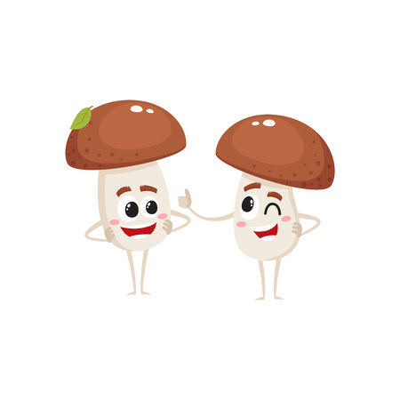 Two funny porcini mushroom characters, one showing thumb up, another looking with arms akimbo, cartoon vector illustration isolated on white background. Couple of porcini mushroom characters