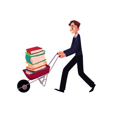 Hombre joven, hombre de negocios, estudiante, bibliotecario que empuja la carretilla con la pila del libro, ilustración del vector de la historieta aislada en el fondo blanco. Hombre empujando la carretilla llena de libros, estudio, concepto de carga de trabajo