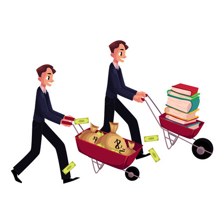 wheel of fortune: Two men, businessmen pushing wheelbarrows, one with pile of books, another holding money bags, cartoon vector illustration isolated on white background. Money versus education concept