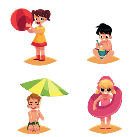 Baby beach set, boys and girls playing with ball, inflatable ring, sand, and sun umbrella, cartoon vector illustration isolated on white background. Babies, kids, toddlers, children on the beach