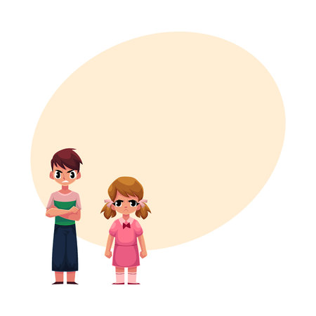 Angry, frowned little kids, boy with arms crossed on breast, girl clenching fists, cartoon vector illustration with space for text. Frowning kids, boy and girl, standing anfry face expression
