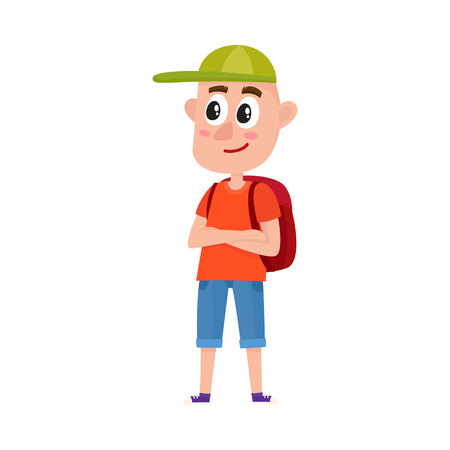 Funny teenage boy tourist with backpack wearing shorts and baseball cap, cartoon vector illustration isolated on white background. Full length portrait of boy, student, traveling on vacation