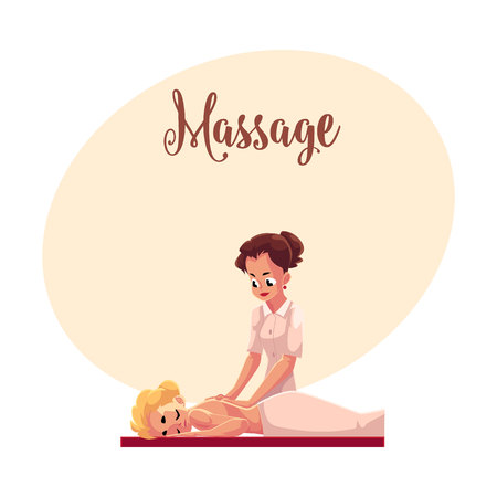 Young woman having relaxing back massage lying on the table, cartoon vector illustration with space for text. Professional female massage therapist doing relaxation back massage to a beautiful girl