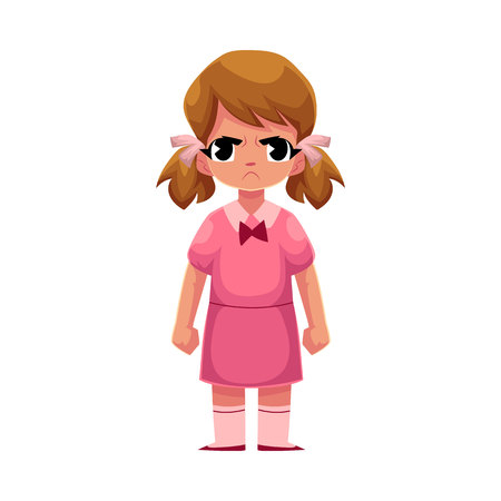 Little girl in pink dress standing with frowned, angry face expression, cartoon vector illustration on white background. Frowning, angry little girl standing, clenching her fists