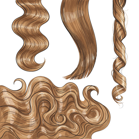 Set of shiny long blond, fair straight and wavy hair curls, sketch style vector illustration isolated on white background. Set of hand drawn realistic healthy, shiny blond, flaxen hair curls