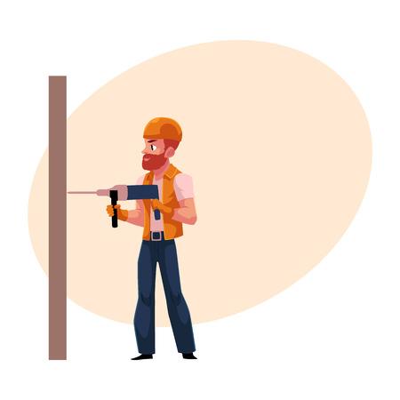 労働者、職人、ヘルメットとレーシング スーツ、壁を掘削のビルダーは漫画テキスト用のスペースの図です。白人の建設労働者、ドリルでビルダー 写真素材
