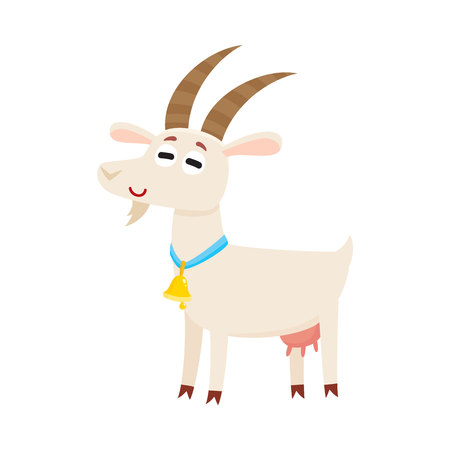 Farm goat with big eyes and horns, wearing bell, cartoon illustration isolated on white background. Cute and funny farm goat with friendly face and big eyes