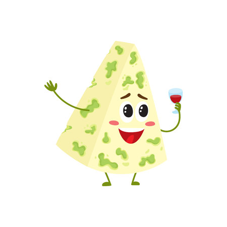 ワイン グラス、白い背景で隔離の漫画ベクトル図を保持している人間の顔を笑顔で面白いブルーチーズ文字。とおかしいキュート青黴チーズ文字、