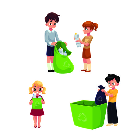 Children, kids collect garbage for recycling, segregating trash, cartoon illustration isolated on white background. Garbage recycling for kids, trash, rubbish segregation, waste sorting