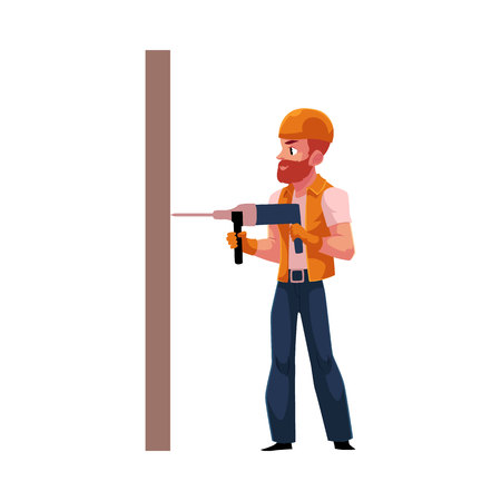 Worker, workman, builder in helmet and overalls drilling the wall, cartoon vector illustration isolated on white background. Full length portrait of Caucasian construction worker, builder with drill