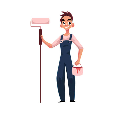 Happy, smiling painter standing holding paint roller, cartoon vector illustration isolated on white background. Full length portrait of Caucasian painter, construction worker with roller and bucket