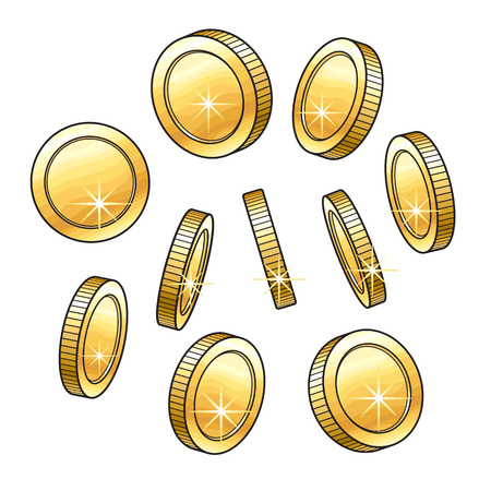 Set of shiny gold coins in various positions, sketch vector illustration isolated on white background. Realistic hand drawing of blank, unlabeled golden coins Stock Photo