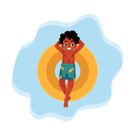 ブラックは、アフリカ系アメリカ人の少年、フローティング インフレータブル トップ漫画ベクトル図水面上に水泳のティーンエイ ジャー。黒十代