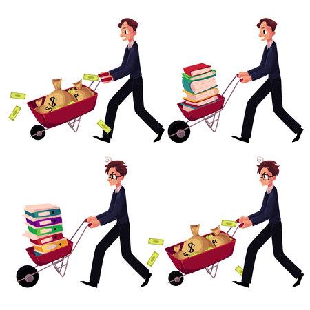 수레를 추진하는 행복 하 고 걱정 기업인의 집합 돈 가방, 책, 문서 폴더, 만화 벡터 일러스트 레이 션 흰색 배경에 고립의 전체. 수레를 밀고 사업가 설