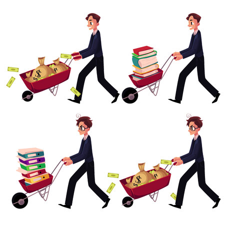 Set of happy and worried businessmen pushing wheelbarrows full of money bags, book, document folders, cartoon vector illustration isolated on white background. Businessman pushing wheelbarrow set Иллюстрация
