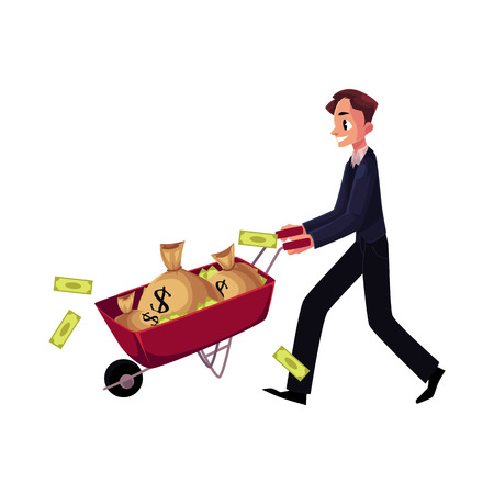 Young man, businessman pushing wheelbarrow full of money bags, losing banknotes, cartoon vector illustration isolated on white background. Businessman pushing wheelbarrow, wheel barrow with money bags Иллюстрация