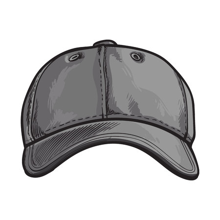 Clean, unlabelled grey colored textile baseball cap, sketch style vector illustration isolated on white background. Realistic isolated hand drawing of grey baseball cap, front view