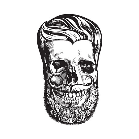 Hand drawn human skull with hipster hairdo, beard and moustache, black and white sketch style vector illustration isolated on white background. Hand drawing of human skull with hipster hair Stock Illustration - 78265206