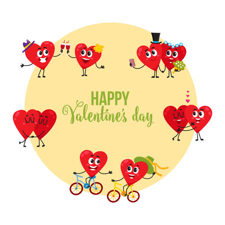 Valentine day greeting card, postcard design with couples of loving heart characters, cartoon vector illustration. Valentine day greeting card design with heart characters spending time together