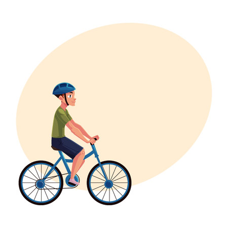 Bicycle, cycle, bike rider, cyclist wearing helmet, side vew, personal transport concept, cartoon vector illustration with space for text. Man riding bicycle wearing helmet, healthy lifestyle