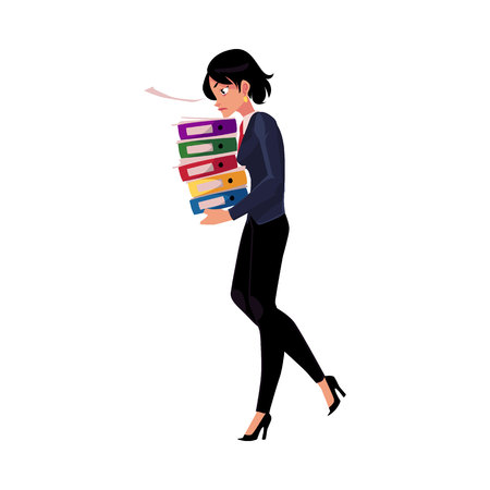 Young pretty businesswoman, woman, girl carrying pile of document folders, cartoon vector illustration isolated on white background. Businesswoman with folders of documents, heavy workload concept Illustration