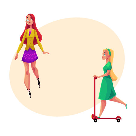 Two pretty girls, women, one roller skating, another riding kick scooter, personal urban transport, cartoon vector illustration with space for text. Girls riding push scooter, roller skating Illustration