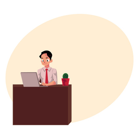 Young businessman working on computer, sitting at office desk, looking at the monitor, cartoon vector illustration with space for text. Businessman, worker, employee working in office Banco de Imagens - 78354183