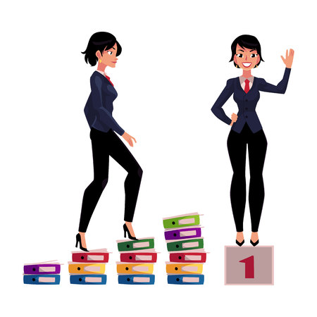 Young businesswoman climbing career ladder and standing on winner pedestal, cartoon vector illustration isolated on white background. Pretty business woman achieving success, celebrating victory