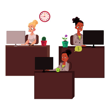 Black and caucasian business women in office, working on computers, cartoon vector illustration isolated on white background. Black and white businesswomen, girls working in office, bored and focused Ilustração