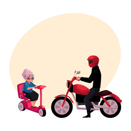 Young man riding motorcycle and old woman driving modern scooter, personal urban transport concept, cartoon vector illustration with space for text. Motorcycle and scooter riders, drivers