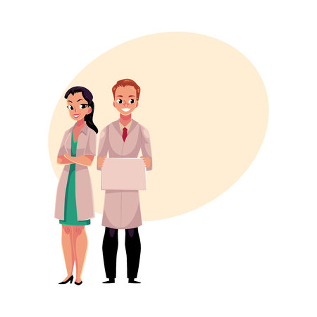 arms folded: Male and female doctors in white medical coats, woman with folded arms, man holding blank sign, board, cartoon vector illustration with space for text.