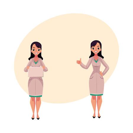 Deux femmes, femmes médecins en blouses médicales, une tenant une planche vierge, une autre montrant le pouce vers le haut, illustration de vecteur de dessin animé avec un espace pour le texte Portrait complet de deux femmes médecins Banque d'images - 78440544
