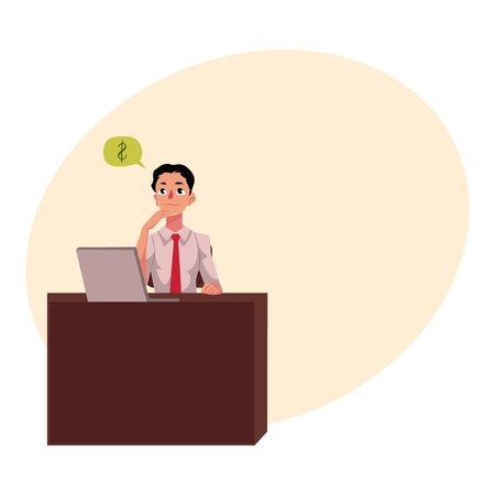Young businessman, manager, financial analyst at office desk, thinking about money, cartoon vector illustration with space for text. Businessman, worker, employee working in office Stock Vector - 78489877