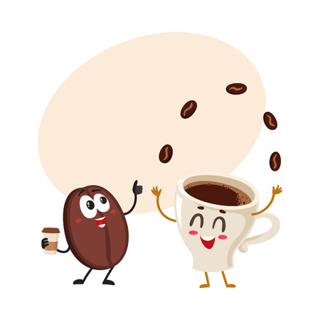 Funny characters of crazy coffee bean and juggling espresso cup, cartoon vector illustration with space for text. Coffee bean hands up from awe and juggling espresso cup characters, mascots