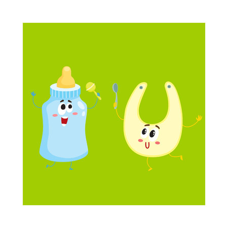Funny milk bottle and baby bib characters, child care, feeding concept, cartoon vector illustration isolated on white background. Baby milk bottle and bib character, mascot, infant necessities