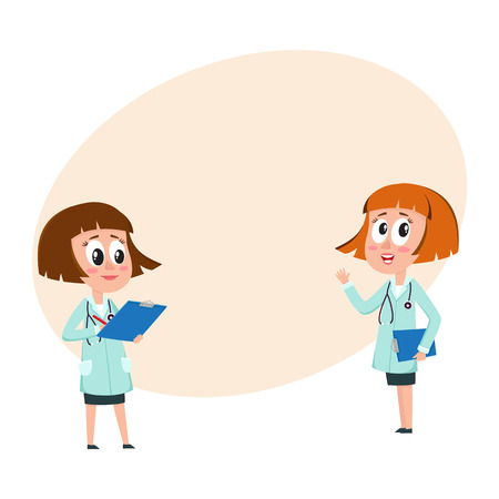 Two comic woman doctor characters, one telling, another writing something into medical record, cartoon vector illustration with space for text. Funny woman doctors filling in medical cards