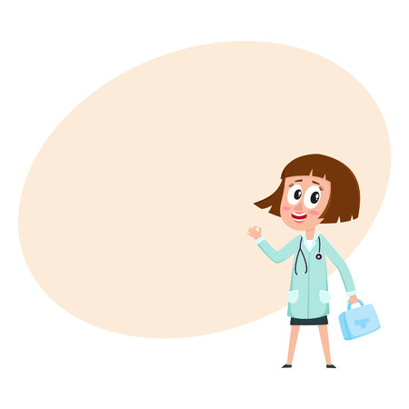 Comic woman doctor character with bob haircut holding first aid kit, medical box, cartoon vector illustration with space for text. Portrait of funny woman doctor holding medical box