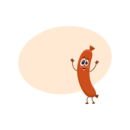 Cute and funny sausage character with human face showing awe, admiring something, cartoon vector illustration with space for text. Sausage character, mascot, looking at something with awe