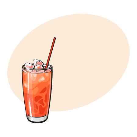 Wysoki szklany pełny świeżo gniosący zimny grapefruitowy sok z lodem i słomą, nakreślenie stylowa wektorowa ilustracja z przestrzenią dla teksta. . Ręcznie rysowane szklankę soku grejpfrutowego z lodem