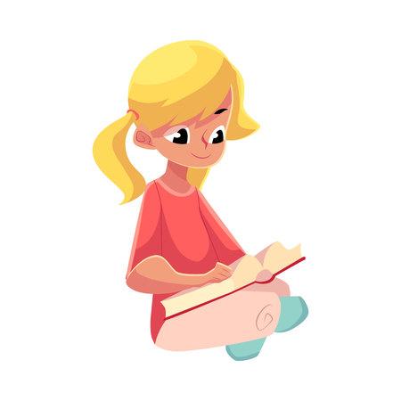Weinig blond meisje met paardestaarten die boekzitting met gekruiste benen op de vloer lezen, beeldverhaal vectordieillustratie op witte achtergrond wordt geïsoleerd. Meisje het lezen van boek zittend op de vloer Stock Illustratie