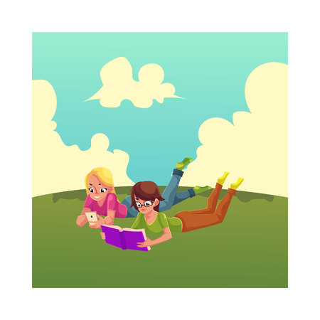 Two girls, one reading book, another playing with mobile phone, lying on the grass, cartoon vector illustration isolated on white background. Women, girls reading book and using smartphone