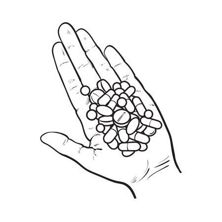 Hand holding pile of pills, tablets in open palm with straight fingers, black and white sketch style vector illustration on white background. Hand drawn hand holding many pills, medicine in open palm Stock Vector - 78435322